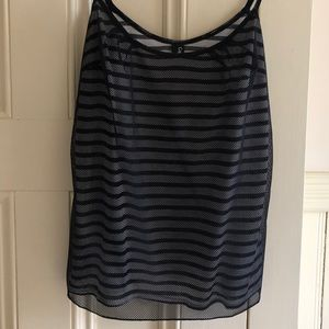 Striped Camisole with Mesh Overlay
